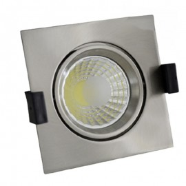 Downlight led empotrable cuadrado inox 8W COB luz blanca
