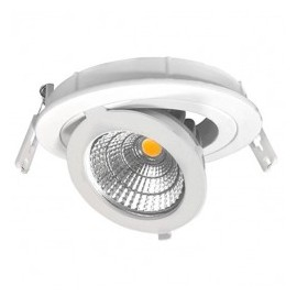 Downlight led empotrable orientable redondo 12W COB luz cálida