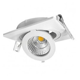Downlight led empotrable orientable cuadrado 12W COB luz neutra